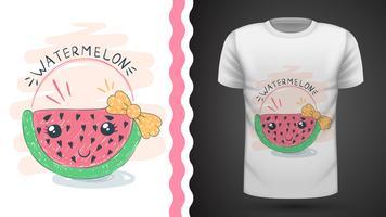 Melon d'eau mignon - idée d'un t-shirt imprimé. vecteur