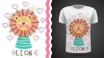 Lion mignonne - idée d'un t-shirt imprimé.