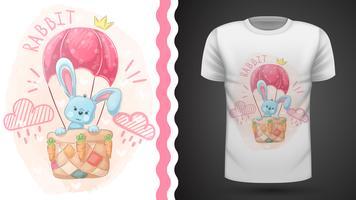 Lapin mignon et montgolfière - idée d'un t-shirt imprimé. vecteur
