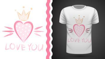 Princesse mignonne - idée d'un t-shirt imprimé vecteur