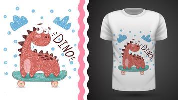Dino sport skate - idée d'un t-shirt imprimé vecteur
