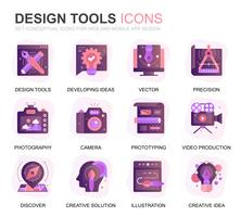Outils de conception de jeu modernes Icônes de dégradé à plat pour site Web et applications mobiles. Contient des icônes telles que Création, Développement, Précision, Vision, Esquisse. Icône plate couleur conceptuelle. Pack de pictogrammes de vecteur. vecteur