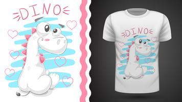 Dinosaure en peluche mignon - idée d'un t-shirt imprimé. vecteur