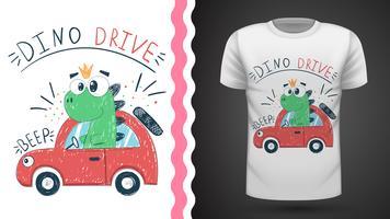 T-shirt dino mignon avec voiture - idée d'impression