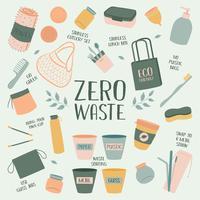 Hand Drawn Zero Waste Element Icon Set Background. Eco Vert.