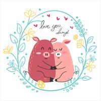 couple de dessin mignon amoureux cochon rose câlin ensemble