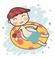 mignon garçon d'été heureux sur la bouée de sauvetage vecteur