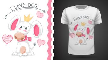 Tee-shirt mignon chien, chiot - idée idée vecteur