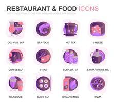 Restaurant moderne et icônes de plats dégradé alimentaire pour site Web et applications mobiles. Contient des icônes telles que restauration rapide, menu, fruits biologiques, café. Icône plate couleur conceptuelle. Pack de pictogrammes de vecteur. vecteur