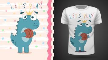 Dino play basket - idée d'un t-shirt imprimé vecteur