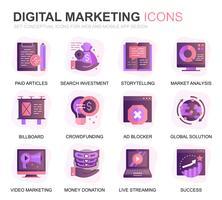 Ensemble moderne d'affaires et icônes de gradient de marketing pour site Web et applications mobiles. Contient des icônes telles que stratégie numérique, solution globale, marché. Icône plate couleur conceptuelle. Pack de pictogrammes de vecteur.