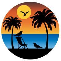 silhouette de palmiers et de mouettes avec coucher de soleil vecteur