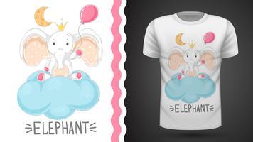 Tee shirt Elephant with air balloon - idea for print vecteur
