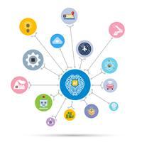 IA Icône d'intelligence artificielle technologie définie en forme de cercle