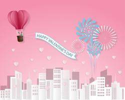 Carte d'invitation amour créatif Valentin vector illustration papier découpé fond style