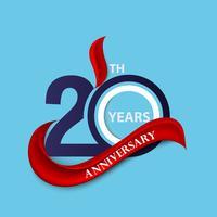 Symbole de célébration signe et logo 20e anniversaire avec ruban rouge vecteur
