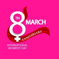 fête des femmes, signe de célébration du 8 mars sur fond rose vecteur