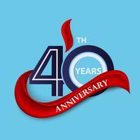 Symbole de célébration signe et logo 40e anniversaire avec ruban rouge vecteur