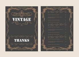 Modèle de vecteur de carte de voeux ornement vintage et conception d'invitation rétro