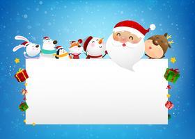 Bonhomme de neige de Noël père Noël et dessin animé animalier sourire avec la neige qui tombe