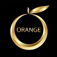 logo de pomme doré et signe de cercle vecteur