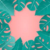 Feuilles tropicales couleurs pastel vert et rose papier style coupé sur fond avec un espace vide pour la publicité de texte. vecteur