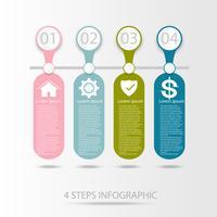Élément infographique de données métiers, diagramme de processus en 4 étapes vecteur