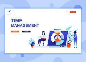 Un concept de modèle de conception de page Web plat moderne de gestion du temps décoré le caractère de personnes pour le développement de site Web et site Web mobile Modèle de page d'atterrissage plat. Illustration vectorielle