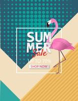 Illustration de fond affiche de vente de l'été avec flamant rose. vecteur