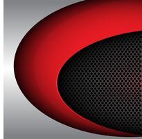 Courbe de forme rouge sur cercle gris métal maille conception illustration vectorielle de fond moderne de luxe.