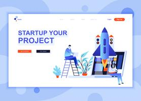 Le concept de modèle de conception de page Web moderne et plat de Startup Your Project a décoré le caractère de personnes pour le développement de sites Web mobiles. Modèle de page d'atterrissage plat. Illustration vectorielle