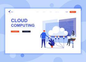 Concept de modèle de conception de page Web plat moderne de Cloud Technology décoré le caractère de personnes pour le développement de site Web et site Web mobile Modèle de page d'atterrissage plat. Illustration vectorielle vecteur