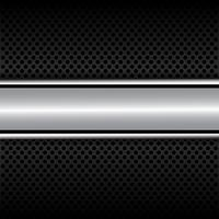 Bannière argentée sur cercle noir maille modèle design luxe moderne fond illustration vectorielle.