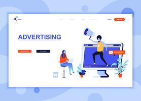 Le concept de modèle de conception de page Web plat moderne de publicité et de promotion a décoré le caractère de personnes pour le développement de sites Web et de sites Web mobiles. Modèle de page d'atterrissage plat. Illustration vectorielle vecteur
