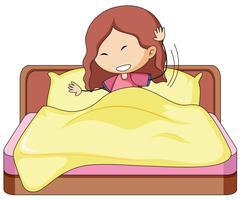 Une fille de griffonnage au lit vecteur