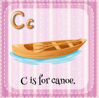 Flashcard lettre C est pour canoë
