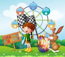 Festival de Pâques avec fille et lapin dans le parc