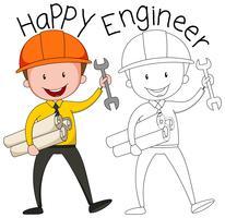 Doodle graphique de l'ingénieur vecteur