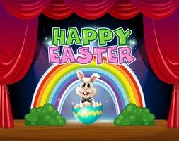 Joyeuses Pâques carte avec lapin en oeuf