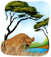 Hyène brune dans la nature vecteur