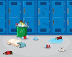 Fond de couloir d'école sale vecteur