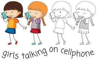 Doodle fille parlant sur téléphone portable vecteur