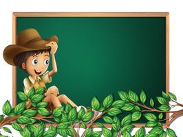 Boy scout sur la bannière du tableau vecteur