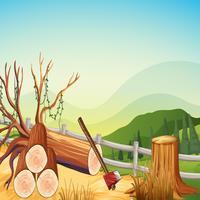 Scène avec des bois de chauffage et des collines