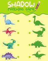Feuille de travail correspondante pour les ombres des dinosaures vecteur