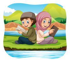 Musulman, garçon, fille, lecture, dans parc