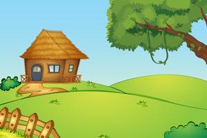 Maison sur une colline vecteur
