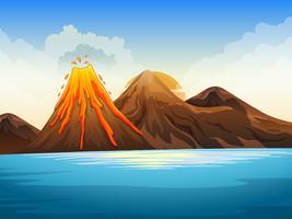 Éruption du volcan au bord du lac vecteur