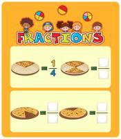 Feuille de calcul mathématique des fractions de pizza vecteur