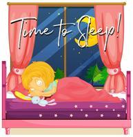 Fille au lit avec le temps de phrase pour dormir
